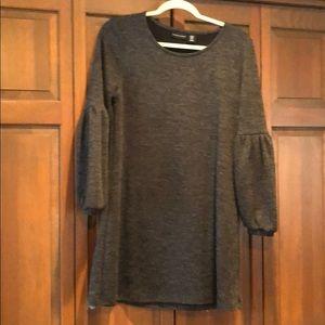 Charcoal Gray Sweater Dress Adrienne Vittadini M